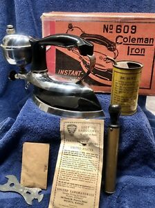 1930's Vintage Coleman No. 609 Instant Lighting Gas Iron with Box & Accessories
