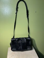 Authentic Chloe Quilted Ribbed Patent Leather Black Clutch/ Crossbody Shoulder
