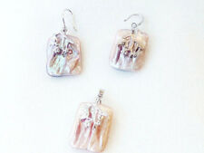 Reborn keshi pearl pendant earring set varitions color nucleated square 22mm