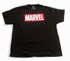 Size 2XL XXL Marvel Comics Logo Black Men's T-shirt Graphic Tee