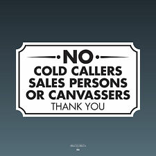 SKU066 - No Cold Callers Canvassers Sales Front Door Sign Sticker - 100mm x 60mm