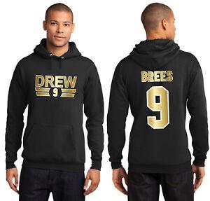 Drew Brees 9 New Orleans Saints Hoodie Jersey Adult or Youth Hooded Sweatshirt