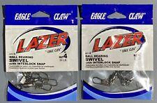 New ListingEagle Claw Ball Bearing Swivels #4 Qty 4 Terminal Tackle 2 Packs No Line Twist