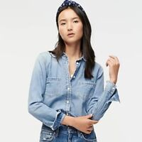J.Crew Everyday Chambray Denim Shirt Size 4 Button Front Chest Pockets G7529