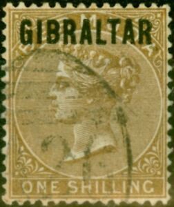 Gibraltar 1886 1s Yellow-Brown SG7 Very Fine Used