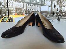 Salvatore Ferragamo  Crocodile Leather  black pumps Block Heel Size US 8 EUR 38