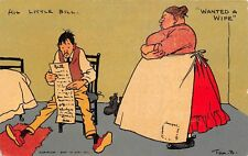 POSTCARD  COMIC  TOM  BROWNE    WANTED  A  WIFE   His  Little  Bill