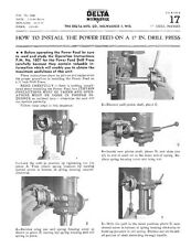 Delta Rockwell How to Install Power Feed on a 17 in. Drill Press Instructions