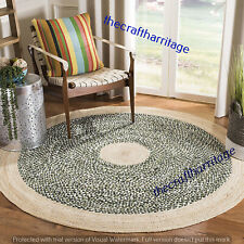 Braided Round Handmade 6x6 Feet Area Indian Rug Multi Jute Cotton Floor Carpet