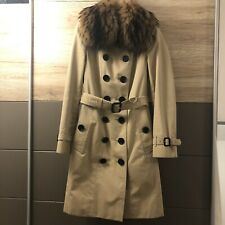 100% Authentic Burberry Classic Honey Long Trench Coat w/ Real Fur Collar UK6 XS