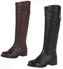 Kniehohe Damen-Stiefel aus Kunstleder mit mittlerem Absatz (3-5 cm)