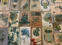 Nice~Lot of~25~FORGET-ME-NOTS~FLOWERS~Antique greeting~Postcards-in Sleeves-s121