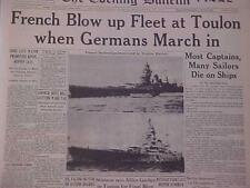 VINTAGE NEWSPAPER HEADLINE ~WORLD WAR 2 FRENCH SCUTTLED SHIPS SUNK GERMAN WWII~