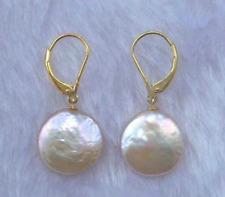 New 11-12MM White Coin Freshwater Cultured Pearl Drop Dangle Earrings