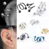 Cartílago pendientes Anillo de labio nariz Espiral Helix Ear Stud Piercing