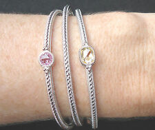 NEW $825 Judith Ripka Set of 3 Bracelets Silver Bangles Crystals Canary Pink 41g