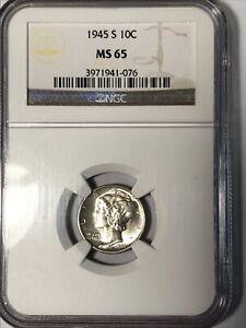 1945-S Silver Mercury Dime NGC MS65
