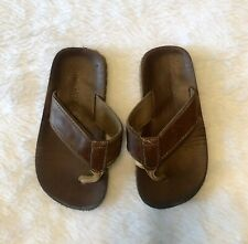 OLD NAVY Shoes Boys 10 / 11 Flip Flops Sandals Faux Leather Brown Summer