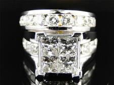 14K Ladies 5.0 Ct SI Princess Diamond Bridal Engagement Wedding Channel Ring Set