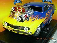 MUSCLE MACHINE  69 CAMARO BLUE W/ FLAMES  MIB. 1:18