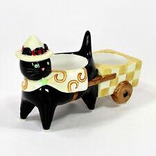 "Yankee Candle BLACK CAT WITH CART 6"" Dual Votive Holder Halloween Tea Light"