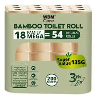WBM Care Bamboo Toilet Paper-3 Ply 18 Mega Roll=54 Regular Bath Tissue