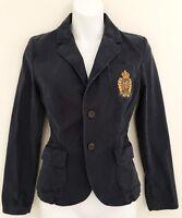 Vintage RALPH LAUREN Womens Denim Jacket Blazer Sz 6 Navy Blue Button Up Crest
