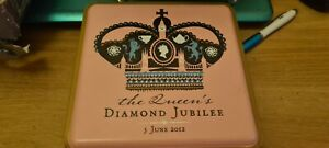MARKS AND SPENCERS COMMEMORATIVE DIAMOND JUBILEE TIN EMPTY 7 X 7 X 2.5""