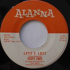 SCOTT FREE: Love's Lost ALANNA oldies TEEN 45 scarce HEAR IT!