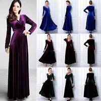 Women V Neck Velvet Long Sleeve Swing Dress Cocktail Party Wear Long Maxi Dress