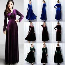 Women V Neck Velvet Long Sleeve Swing Dress Cocktail Party Wear Long Maxi Dress