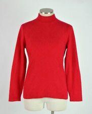 Vintage 90s Soft Red Cashmere Sequin Mock Turtleneck Sweater Jumper Top Womens S