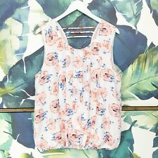 Anthropologie Floral Blouse Size L White Pleated Petals Open Back Sleeveless Top