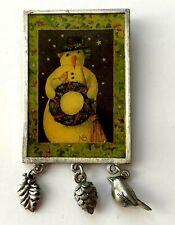 BROCHE vintage signé MARJOLEIN BASTIN Bonhomme de neige oiseau pomme de pain