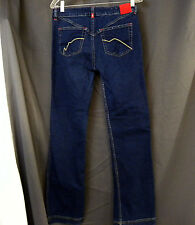Ecko Red Women's Stretch Boot Cut Blue Jeans W/ Red Accents   Size 11 29x32  EUC