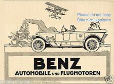 Benz Automobile flugmotoren Reklame von 1918 Mannheim Pickelhaube Wasserflugzeug