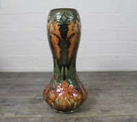 Large Moorcroft Green & Orange Art Nouveau Floral Design Double Gourd Vase.