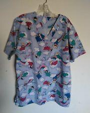 Scrub Top Uniform Angel Hope Medical Nursing Size L V Neck Short Sleeve Pockets