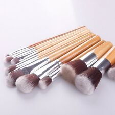 11 pcs Bamboo Handles Eco-friendly Makeup Brush Set Super Soft face kit NEW NXf