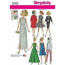 "Simplicity Sewing Pattern 1242 Vintage Doll Clothes for 11.5"" Dolls Toys"