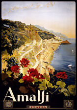LARGE A3 Size CANVAS ART PRINT * Retro Vintage Travel Poster * ITALY