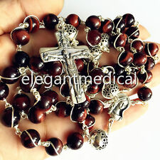 Bali 925 Sterling Silver Beads 8MM Tiger Eye Rosary Cross catholic necklace Box