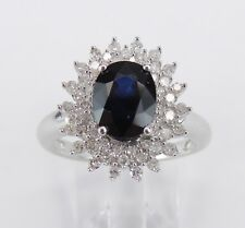 14K White Gold Diamond and Sapphire Halo Engagement Prince Ring Size 7