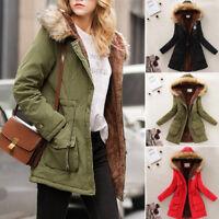 Women Warm Long Coat Fur Collar Hooded Jacket Winter Cotton Outwear Overcoat