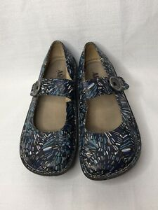 Alegria Leather Blue Multi Color Adjustable Mary Jane Loafer Shoes Womens 39