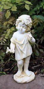 Large Cherub Garden Ornament Figure aged antique white finish little boy DS5446