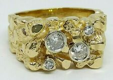 MENS 14KT YELLOW GOLD NUGGET RING WITH 4 BEZEL SET DIAMONDS SIZE 8.5 12.9GRAMS