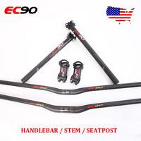 EC90 Carbon Handlebar Set 25.4/31.8mm Seatpost 350/400 Stem 6/17° MTB Road Bike