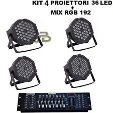 4 PAR LED FARO RGB 36 LED STROBO WASH PROGRAMMABILE DMX + MIXER 192