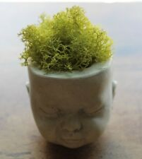 Concrete Garden Small Doll Head Planter Individually Cast from Handmade Mold
